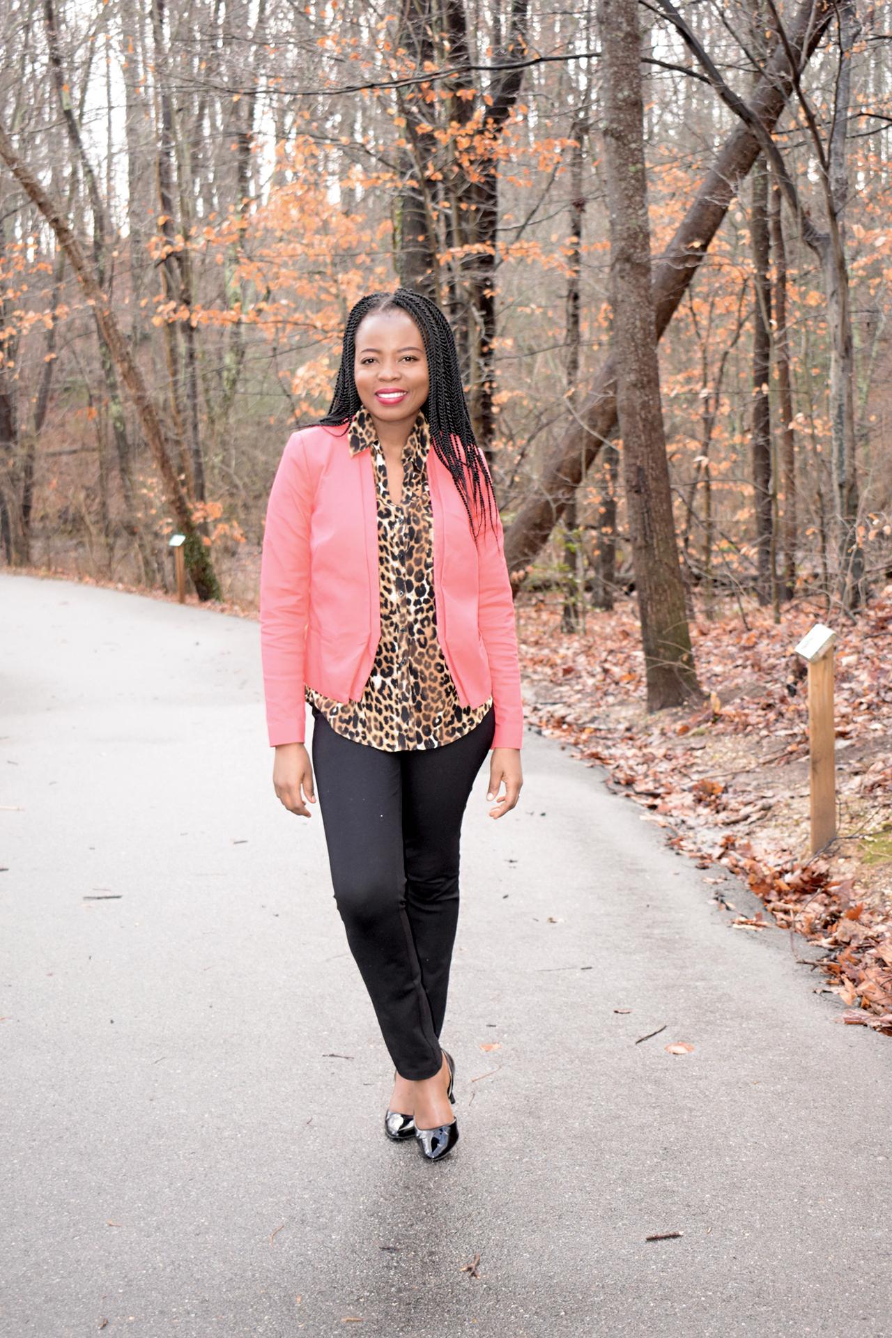 Pink blazer + Leopard print shirt graphic