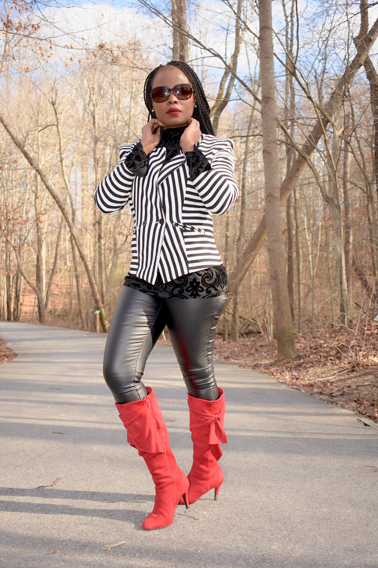 Faux leather leggings graphic