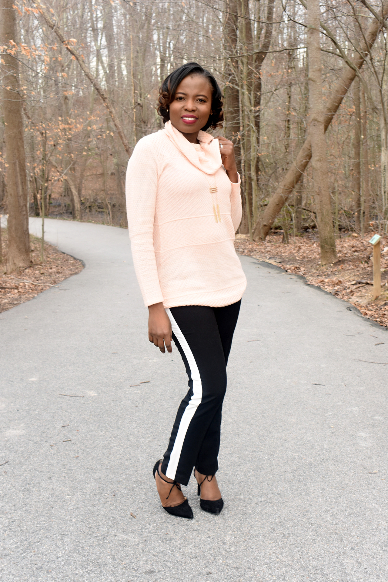 Athleisure= Blush sweater + side stripe pant graphic