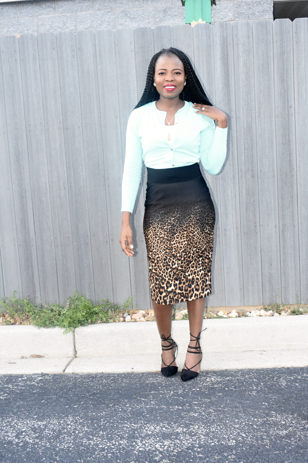 Mint green Cardigan + leopard print skirt graphic