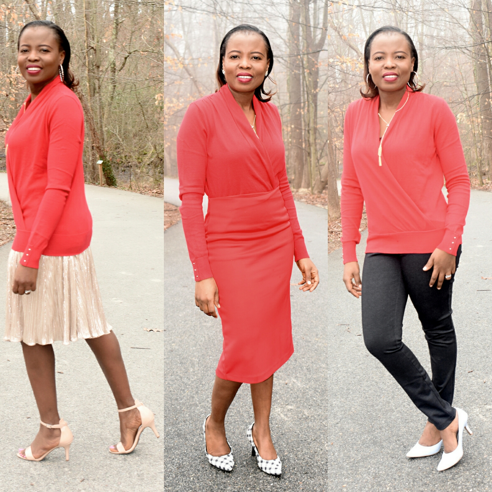 1 faux wrap pullover sweater= 3 looks! graphic