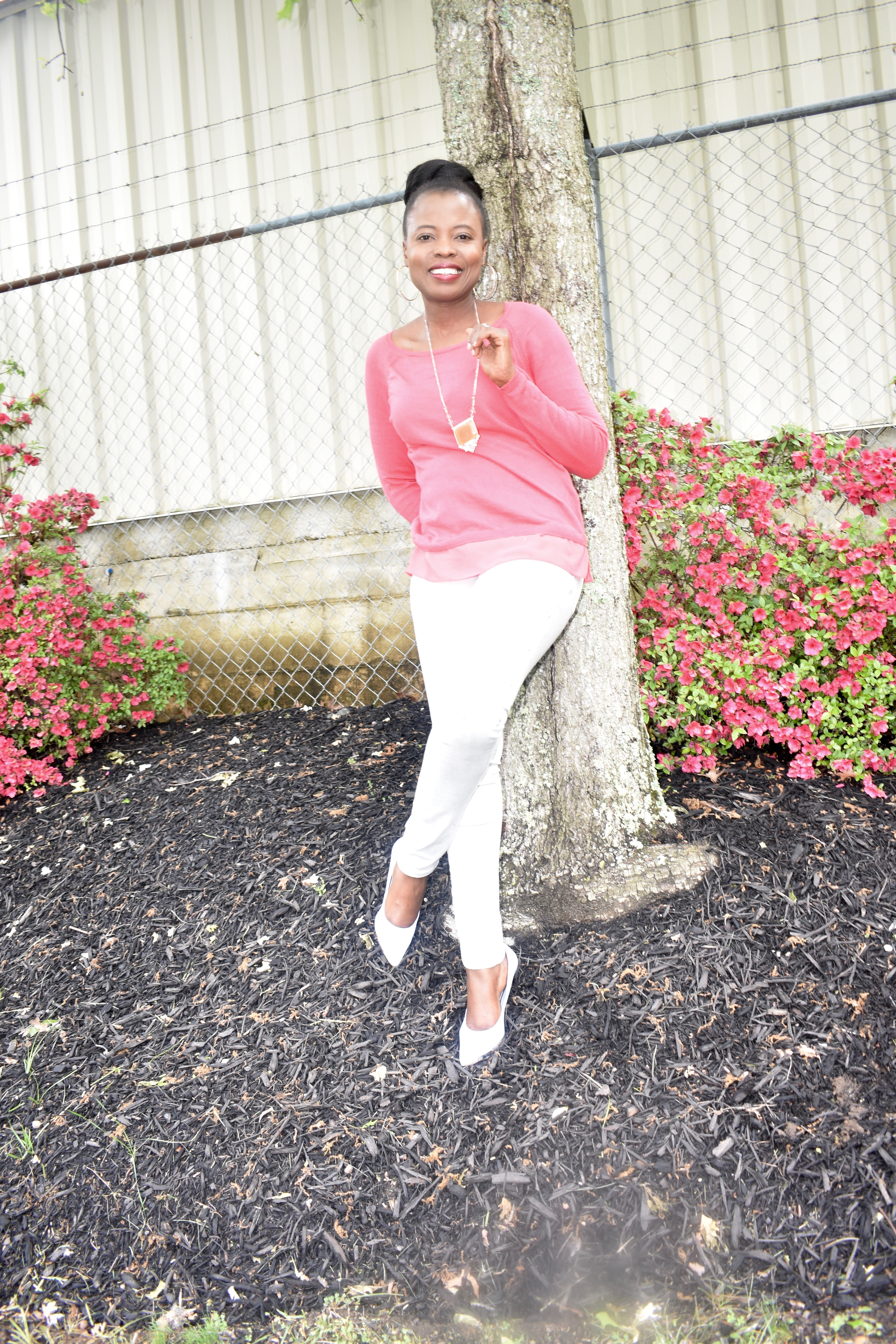 Pink blouse + Gray jeans graphic
