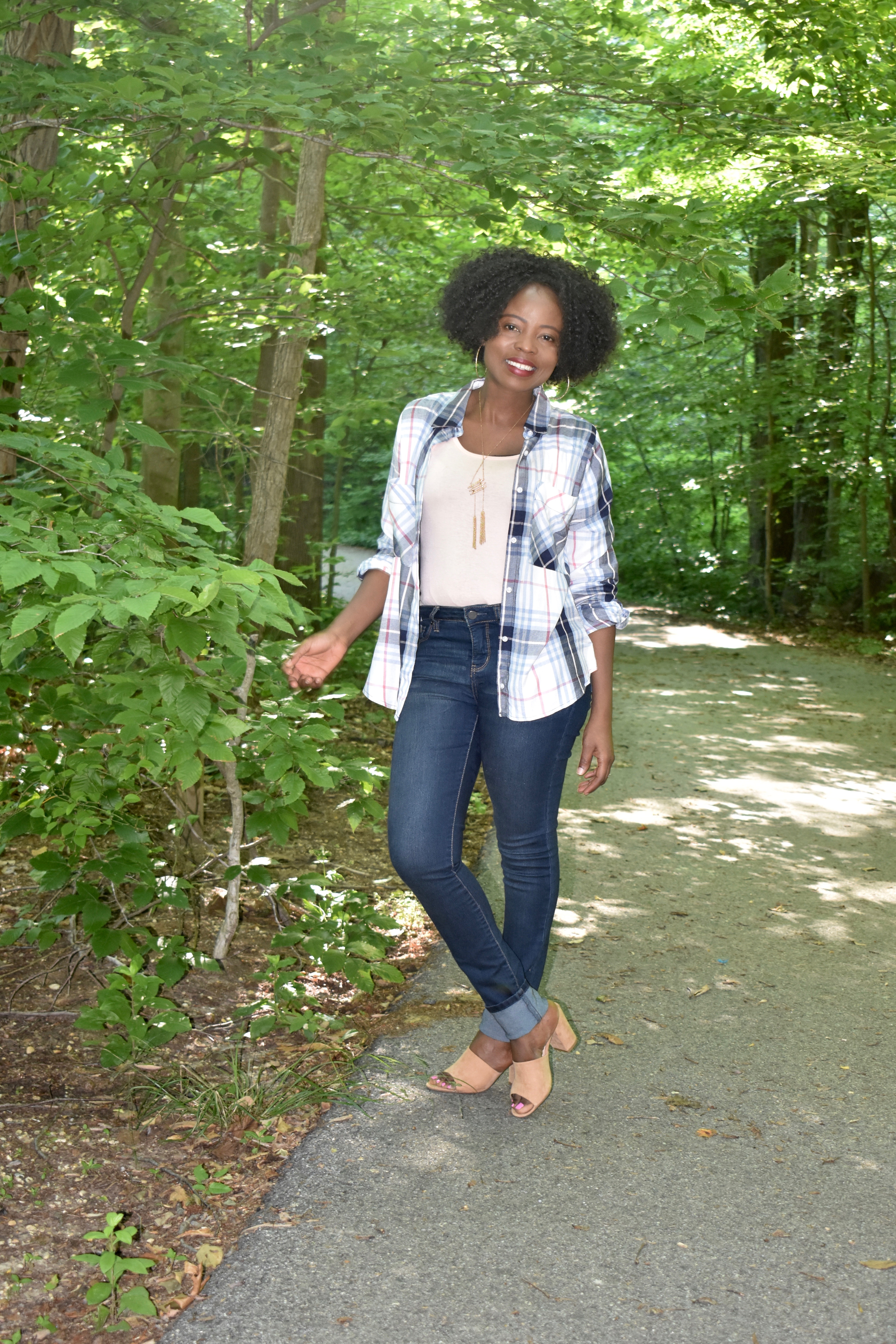 Tank top, shirt, high waisted jean + mules outfit. graphic