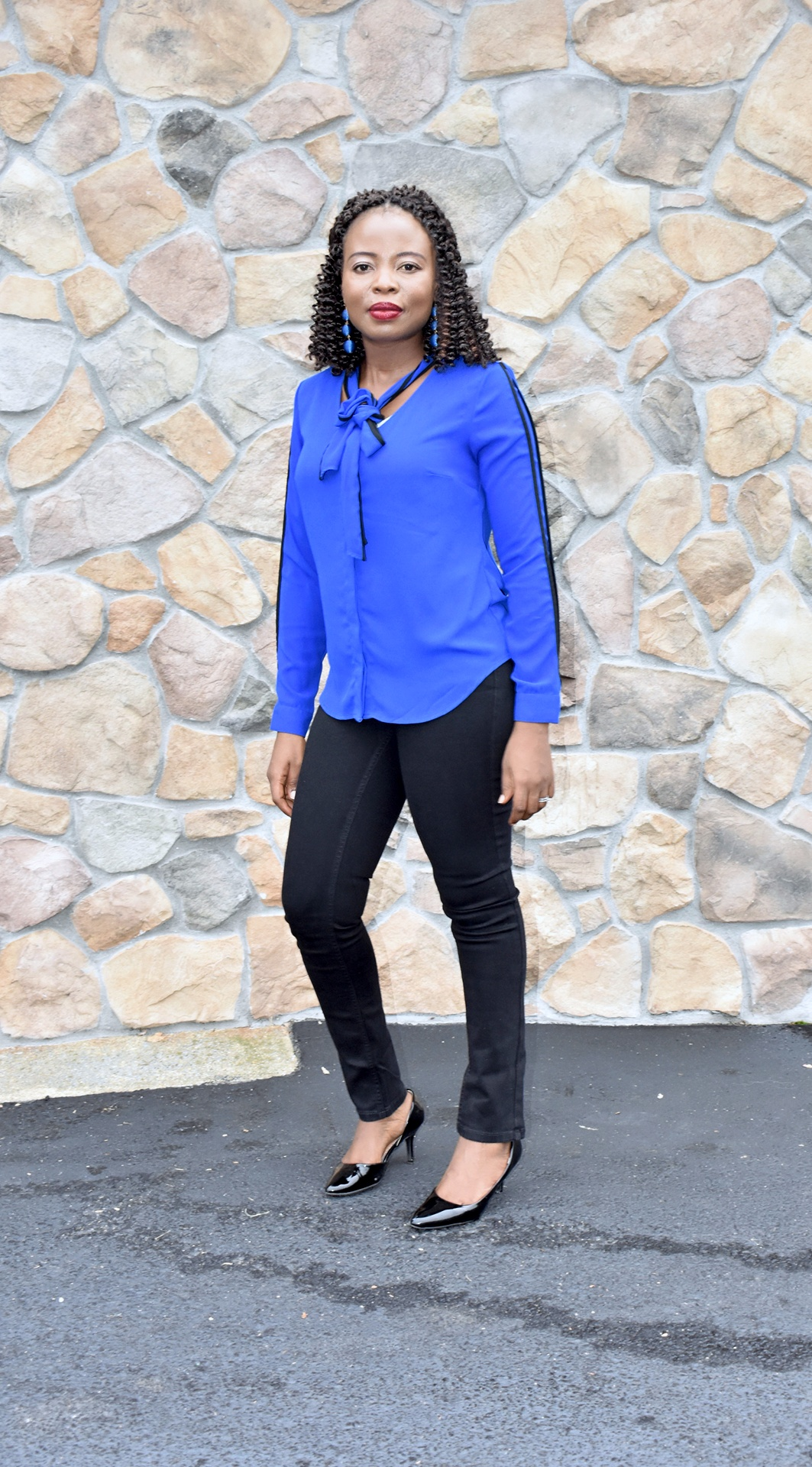 Blue + Black Office outfit inspiration. graphic