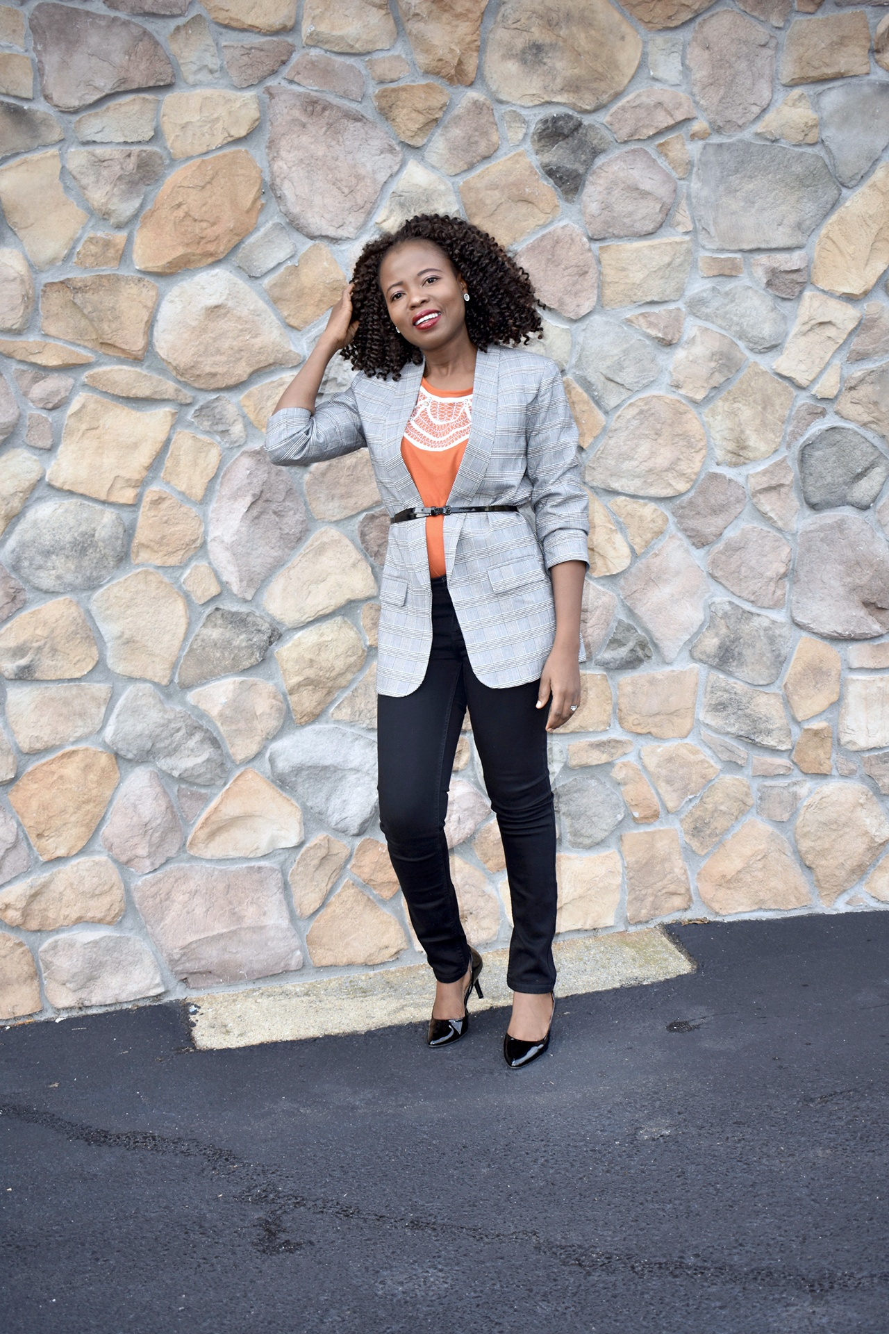 How to style plaid blazer graphic