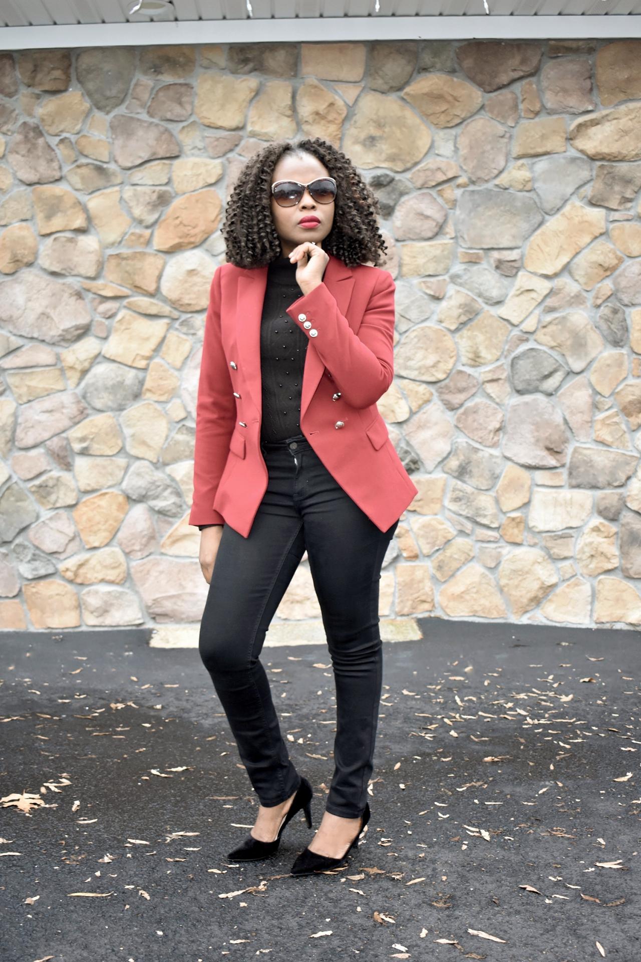 All black +Balmain inspired blazer look. graphic