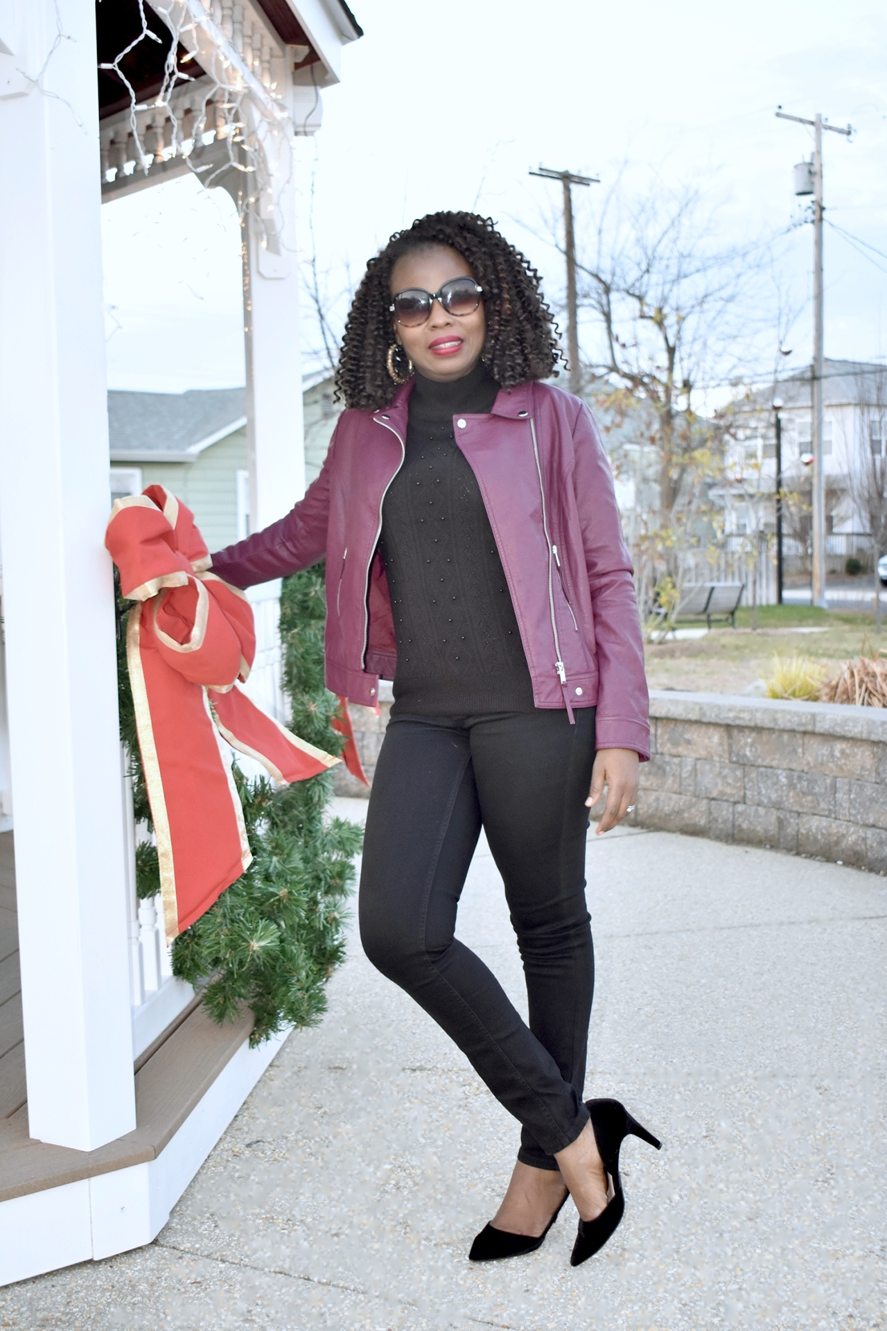 How to style faux leather jacket in winter. graphic