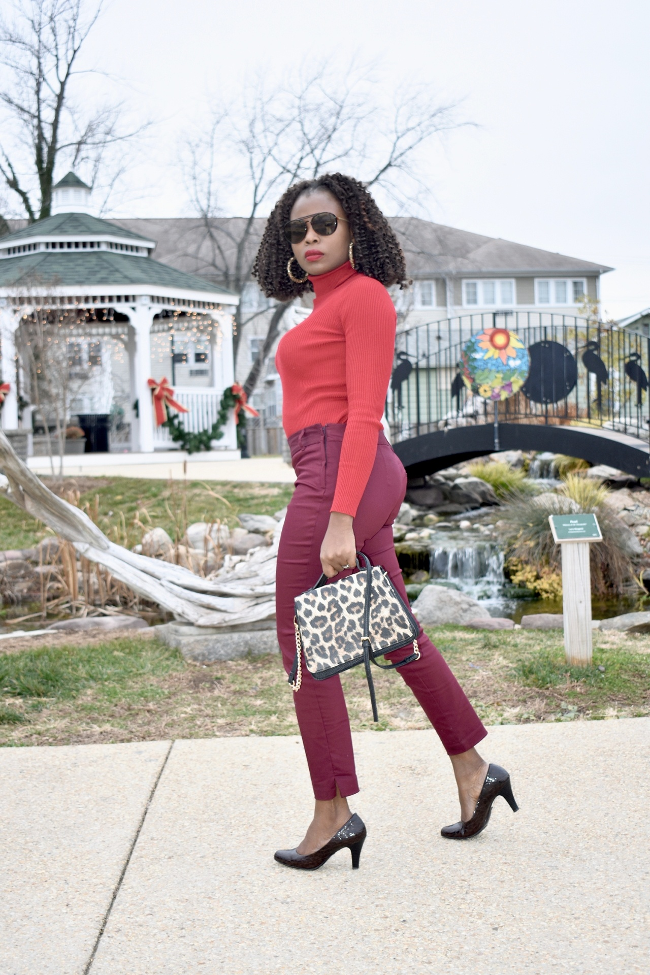 Red + burgundy outfit graphic